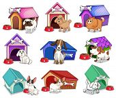 pic of dog-house  - Illustration of the dogs with houses on a white background - JPG