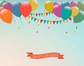 picture of balloon  - Retro holiday background with colorful balloons and a Happy Birthday ribbon - JPG