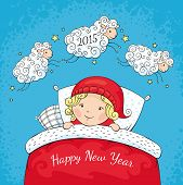 picture of sheep  - New year greeting card with sheep and child vector illustration - JPG