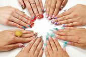stock photo of nail paint  - Female hands with various nail arts - JPG