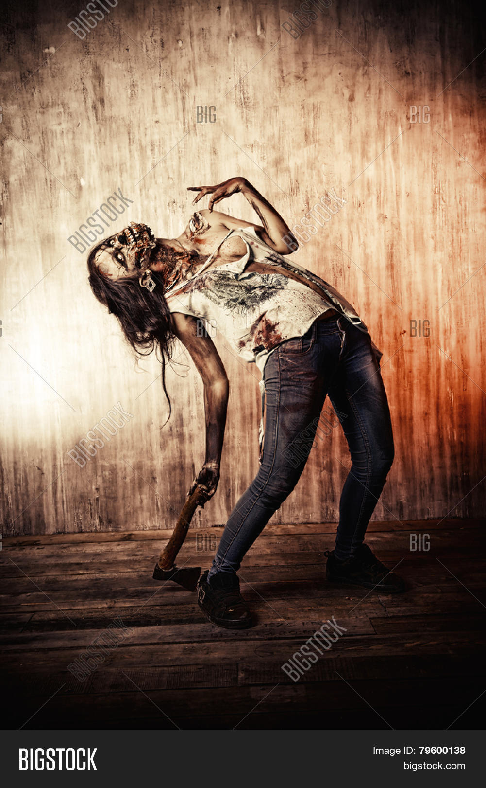 Scary Bloody Zombie Girl Ax. Image & Photo | Bigstock
