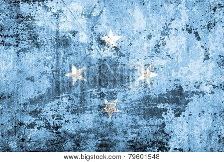 Micronesia Flag on dirty paper