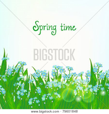 Vector card with small blue flowers