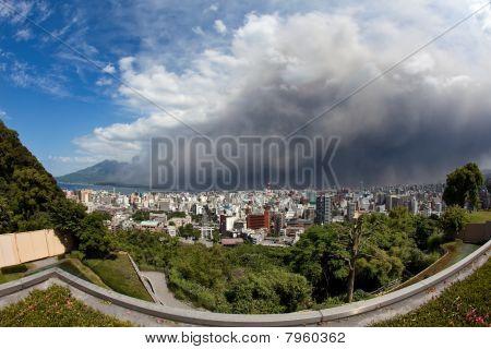 Mt Sakurajima erupts, ash covers Kagoshima City