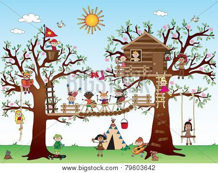 Tree House With Children
