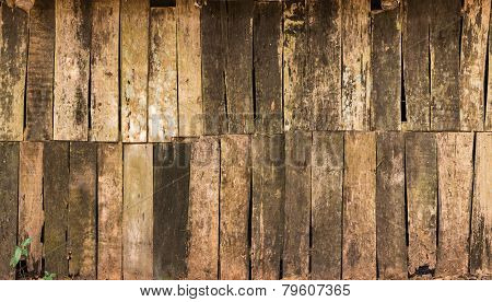 Background Of Decay Wood  On  Old Cottage Wall  Surface