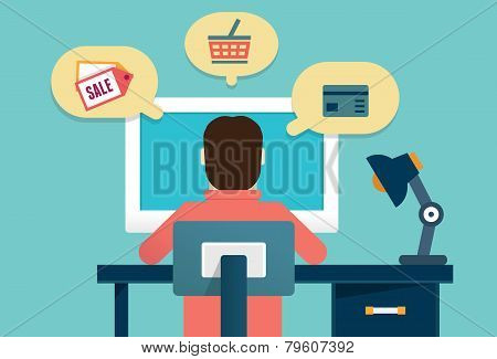 Flat Concept Of Process E-marketing And E-commerce. Customer Orders Product