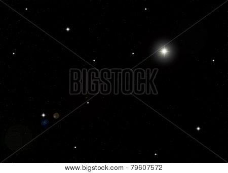 Starfield In Galaxy With Flare