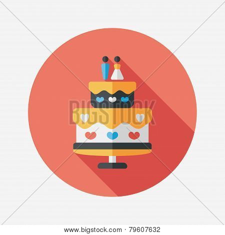 Wedding Cake Flat Icon With Long Shadow,eps10