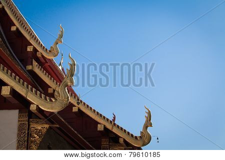 Gable Apex On The Roof Of Temple