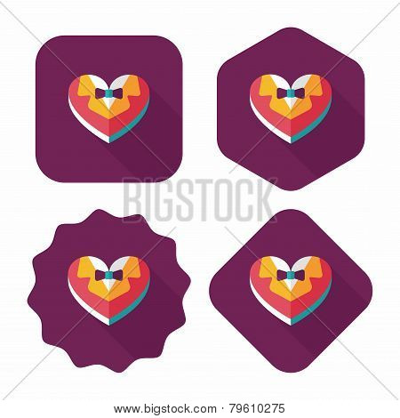Wedding Groom Suit Shaped Box Of Cookies Flat Icon With Long Shadow,eps10