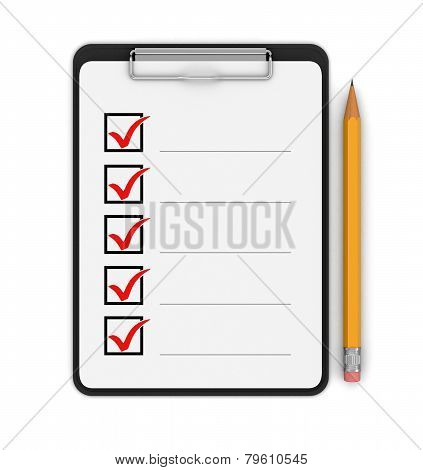 Notepad Checklist (clipping path included)