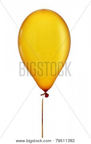 an inflated golden balloon tied in a string on a white background