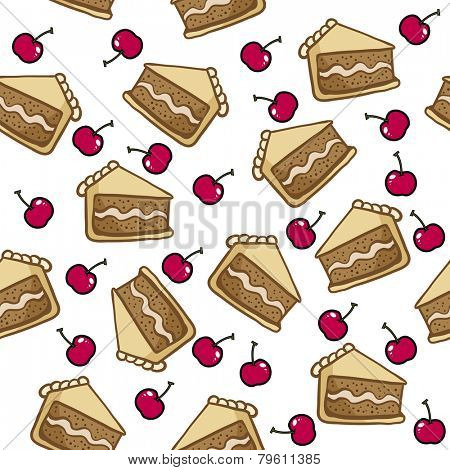 cake and cherry seamless pattern on white