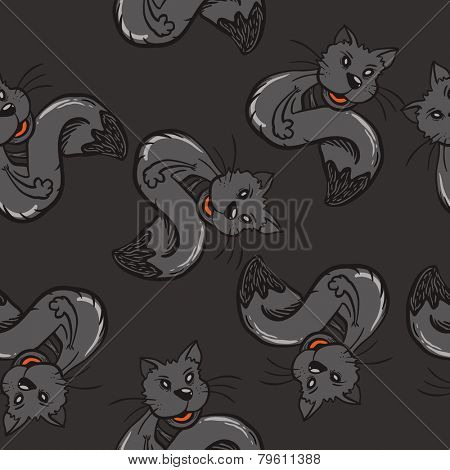 black cat seamless pattern