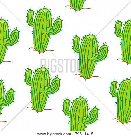 cactus seamless pattern on white
