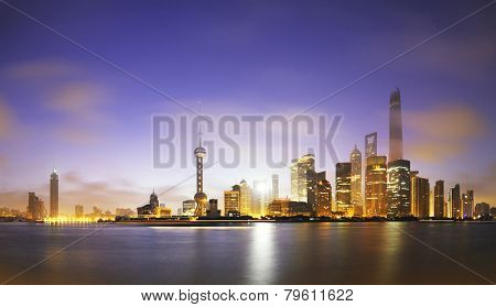 skyline and landscape of modern city,shanghai.View from riverbank of Huangpu river.