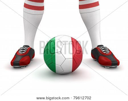 Man and soccer ball  with Italian flag (clipping path included)