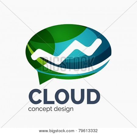 Modern cloud company logo design, made of overlapping wavy shapes
