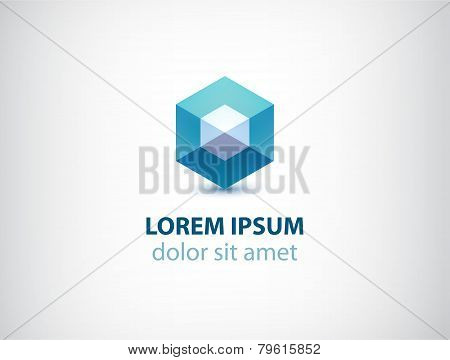 vector abstract geometric crystal logo