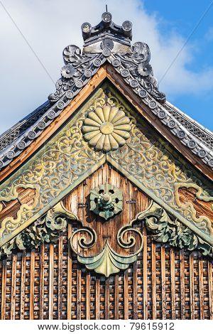 Pediment of Nijo Castle in Kyoto Japan