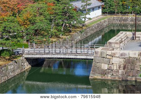 Moat and Bridge at Nijo Castle in Kyoto Japan