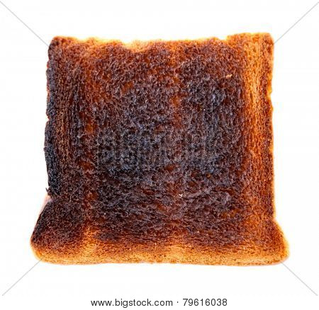 Burnt toast bread isolated on white background
