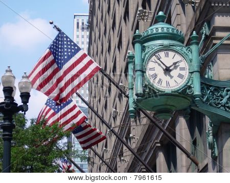 Marshall Field's clock and American Flags