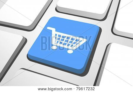 Computer Key : Shopping Cart Vector