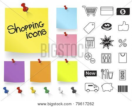 Shooing Icons on Note Pad Vector