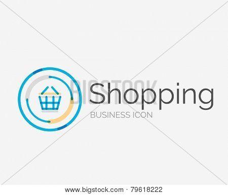 Thin line neat design logo, clean modern concept, shopping cart icon