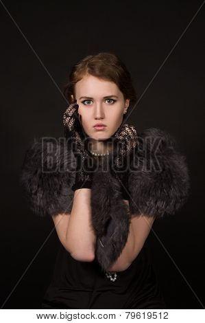 The Girl In The Retro Image Of A Black Background