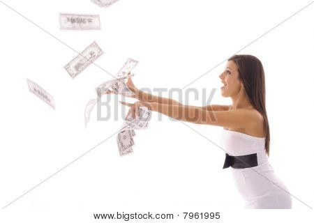 beautiful woman catching money