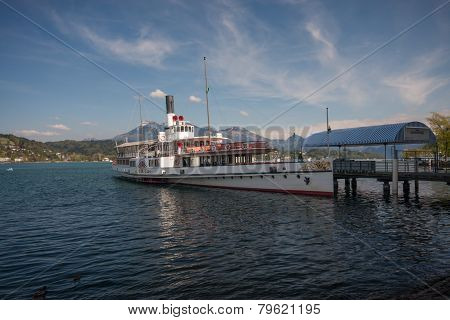 Lucerne, Switzerland - April 20, 2014:  Steam Boat Uri At Pier On Lake Lucerne In Town Lucerne On Ap