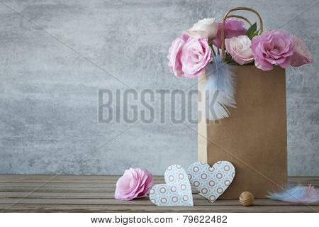 Romantic background with roses and handmade hearts - copy space