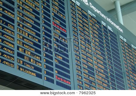 arrival board at airport