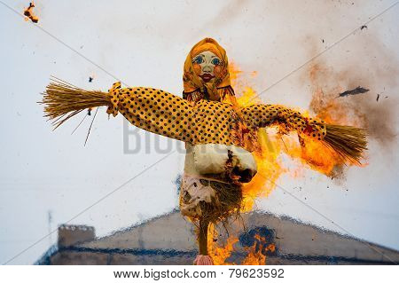 Traditional Off Winter In Russia, Burning Effigies Of Carnival.