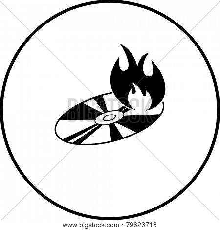 disc burning symbol