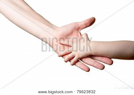 Children And Man Hands Isolated On White