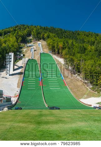 PLANICA, SLOVENIA-AUGUST 21: Ski jumping hills under construction for world champion competition, Sl
