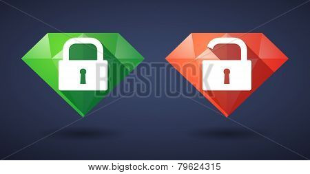 Lock Pad Diamond Icon Set