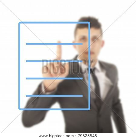 Young Man With Blue Checklist Isolated On White Background