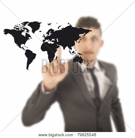 Young Man With Black World Map Isolated On White Background