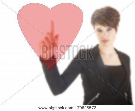 Young Woman With Red Heart Isolated On White Background