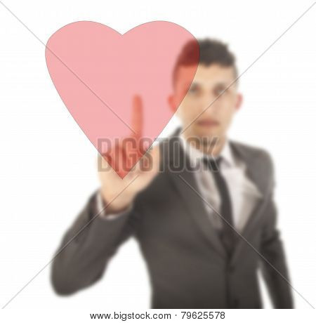 Young Man With Red Heart Isolated On White Background