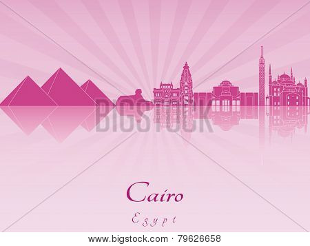 Cairo Skyline In Purple Radiant Orchid