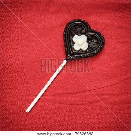 Chocolate Heart-shaped Lollipop