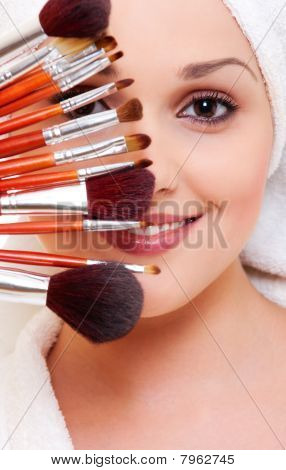 Woman With Brushes For Make-up