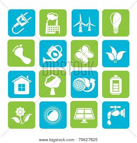 Silhouette Green, Ecology and environment iconsSilhouette Green, Ecology and environment icons - vec