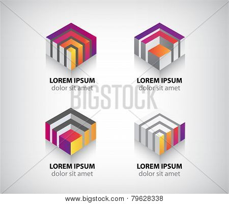 set of vector abstract colorful geometric cube 3d icons